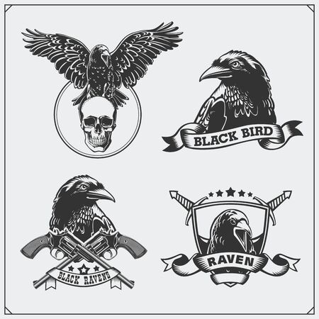 Raven heraldry coat of arms. Labels, emblems and design elements for sport club. Imagens - 140395263