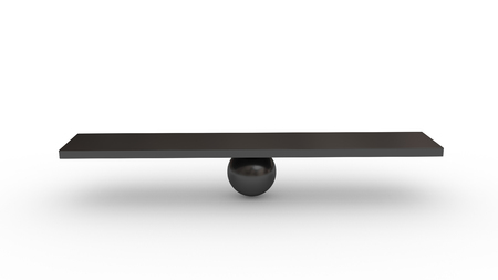 Seesaw concept isolated on white background. Made with 3d rendering.. Stock Photo