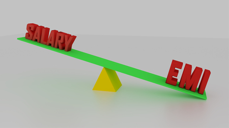Seesaw concept made with 3d rendering. Salary vs EMI. Stock Photo