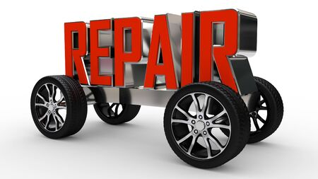 Metallic repair text on wheels isolated on white background. Made with 3d rendering... Archivio Fotografico