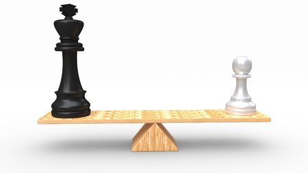 Chess pieces on wooden seesaw, isolated on white background. Made with 3d rendering... Фото со стока