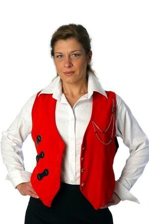 beautiful lady in red waistcoat photo
