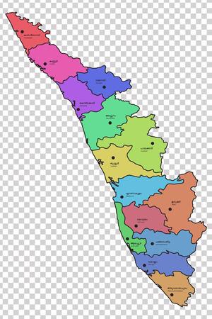 Mapa de Kerala con los 14 distritos resaltados en diferentes colores. Los nombres de los distritos respectivos se dan en malayalam e inglés.