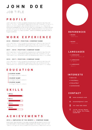 Resume / CV template with minimalist red colour design. Illustration