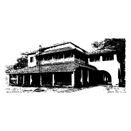Silhouette of an old bungalow isolated on a white background. Vektoros illusztráció