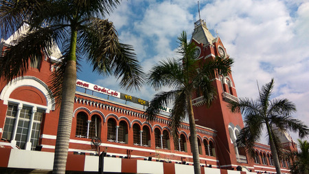 CHENNAI, TAMIL NADU, INDIA - JANUARY 01, 2019: Front view of Chennai Central railway station formerly known as Madras Central. It is one of the busiest hubs in the South India.
