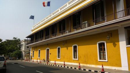 PONDICHERRY/PUDUCHERRY, TAMIL NADU, INDIA - DECEMBER 31, 2018: Consulate General of France in Pondicherry (Consulat général de France à Pondichéry) located on the Marine Street of White Town.
