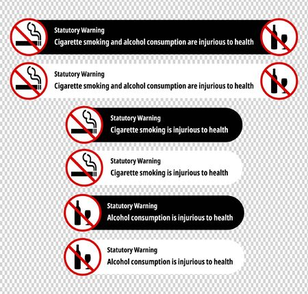 """""""Cigarette smoking and alcohol consumption are injurious to health"""" statutory warnings in English language. Black and white versions. Ideal for using in films and videos."""