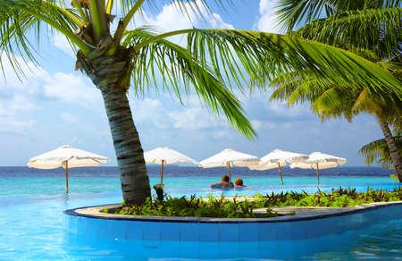 bush hog: audiencia en la piscina, Maldivas, Oc�ano �ndico