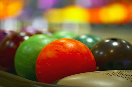 Nice close-up of the colored bowling balls Stock Photo