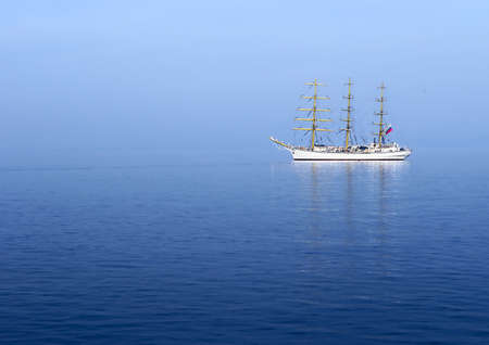 Sail Ship in the Morning Mist in Pacific Ocean Stock Photo - 12631994