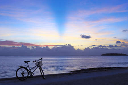 bicycle walk: Pleasant bicycle walk along The Indian Ocean. Maldives
