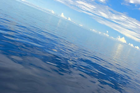 Absolutely calm Indian Ocean in suunny day, Maldives Stock Photo