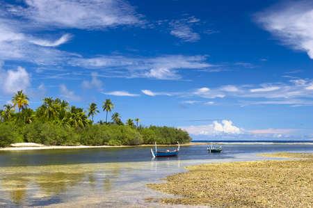 Nice tropical lagoon on the island Gan in Indian Ocean, Maldives Stock Photo