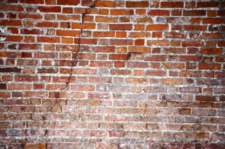 shambles: Old Brick Red Wall with a fracture