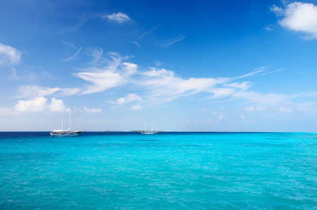 Nice marine seascape with  sailers, Maldives Stock Photo - 13103288