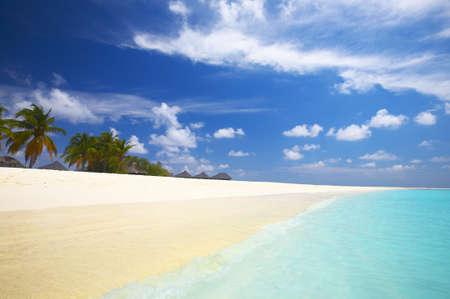 Coral tropical beach on the island Kuredu in the Indian Ocean, Maldives photo