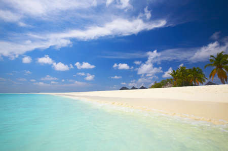 Coral tropical beach on the island Kuredu in the Indian Ocean, Maldives Stock Photo - 13103351