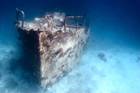 ship wreck: Ancient sunken ship Stock Photo