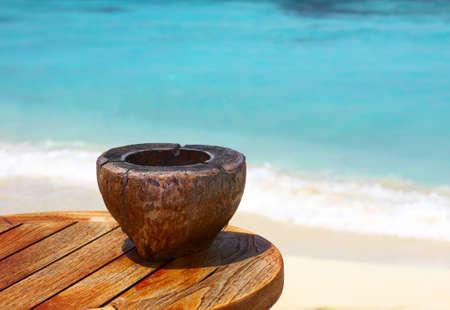 Ashtray on a beach table