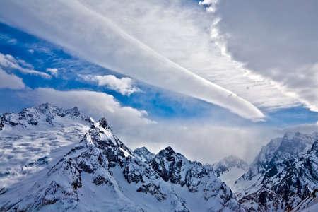 tremendous: Tremendous clouds above the rock, Russia, Dombay