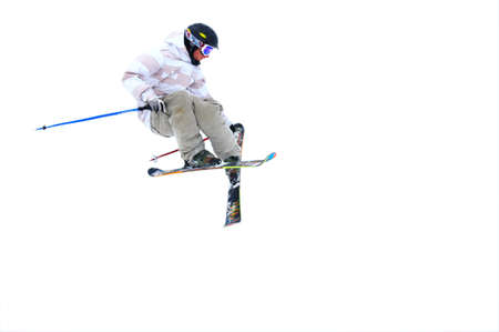 Skier isolated on a white background photo