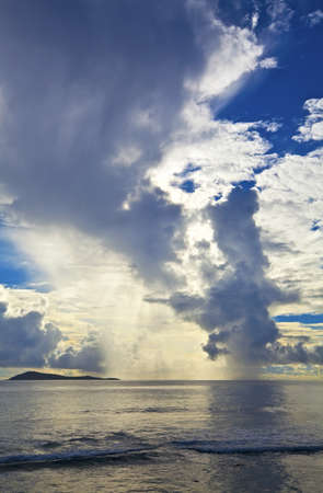 ladigue: Cloudscape and seascape  view, Seychelles, LaDigue island Stock Photo