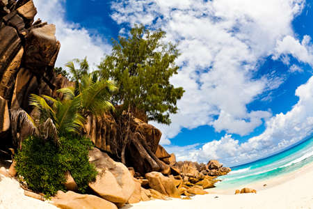 ladigue: Nice beach with a huge stones, Seychelles, LaDigue island, The Indian Ocean Stock Photo
