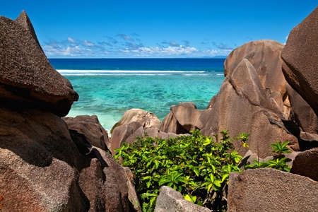 Seascape view with a huge stones, Seychelles, LaDigue island Stock Photo - 13148485