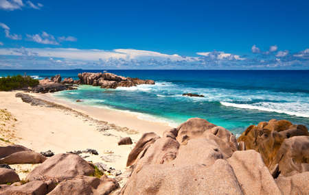 Seascape view with a huge stones, Seychelles, LaDigue island Stock Photo