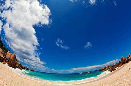 ladigue: Sand beach, fisheye view, Seychelles, LaDigue island