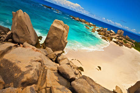 ladigue: Dream beach with a huge stones, Seychelles, LaDigue island