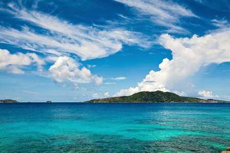 Cloudscape and seascape  view, Seychelles, LaDigue island Stock Photo