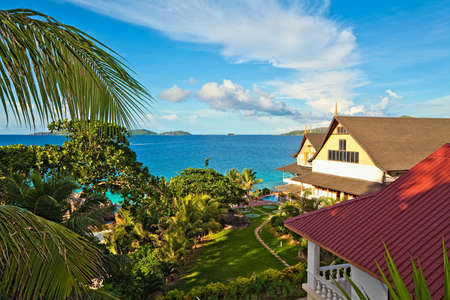 ladigue: Perfect seascape view with a tropical hotel,  Seychelles, LaDigue island