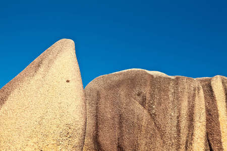 ladigue: Two big stones and a blue sky, Seychelles, LaDigue island