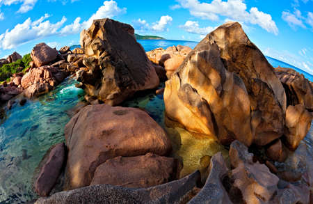 ladigue: Seascape fisheye view, Seychelles, LaDigue island Stock Photo