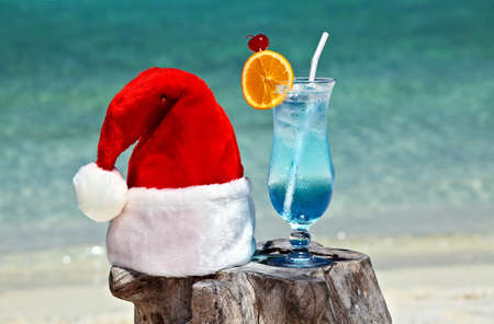 Bocal of tonic water is on original  beach table is made from trunk of tree with Santa hat photo
