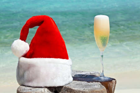 Bocal of champagne is on original  beach table is made from trunk of tree with Santa hat