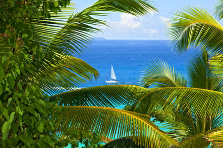 Dream seascape view, Seychelles, La Digue island Stock Photo - 13148354