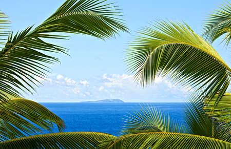 Dream seascape view, Seychelles, La Digue island Stock Photo
