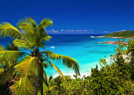 Seascape view with a huge stones, Seychelles, LaDigue island photo