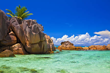Dream seascape view with a big stones and palmtree, Seychelles, La Digue island photo