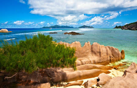 Seascape view with a huge stones, Seychelles, La Digue island Stock Photo - 13170192