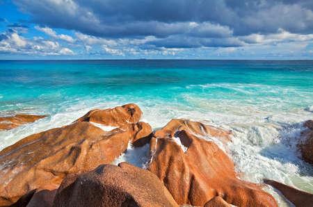 ladigue: Seascape view with a huge stones, Seychelles, La Digue island Stock Photo