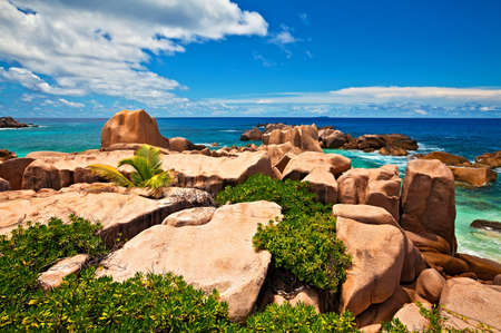 ladigue: Seascape view with a huge stones, Seychelles, LaDigue island Stock Photo
