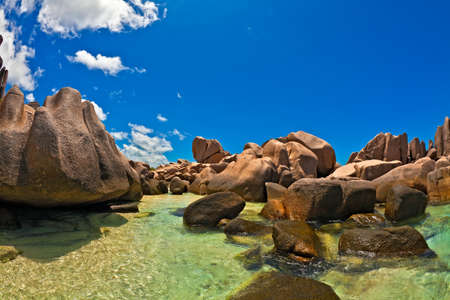 Seascape view with a huge stones, Seychelles, La Digue island photo