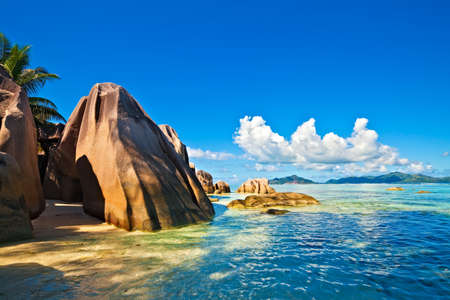 Seascape view with a huge stones, Seychelles, La Digue island Stock Photo