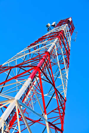 radio tower on a background of the blue sky