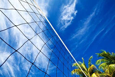 volleyball net: Volleyball net on a island in the Indian Ocean, Maldives