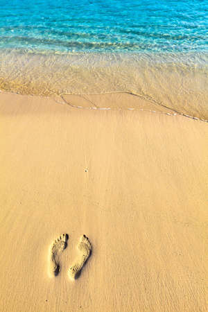 One pair footsteps on coral sandy beach photo